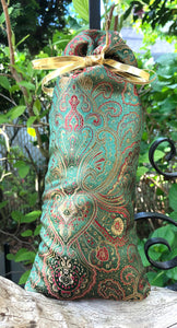 Green Red Gold Brocade