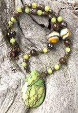 Load image into Gallery viewer, Mineral Necklace - Green Zebra Jasper with Onyx Necklace
