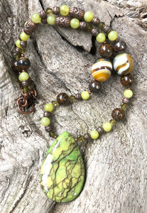 Mineral Necklace - Green Zebra Jasper with Onyx Necklace