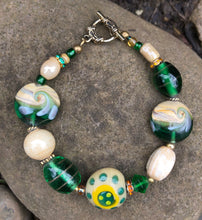 Load image into Gallery viewer, Lampwork Glass Bracelet - Green Beige Yellow