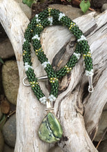 Load image into Gallery viewer, Kumihimo Necklace and Bracelet Set - Dark Green with Gold and Pearly White