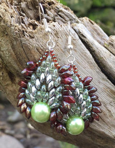 Green and Rusty Red Phoenix Earrings