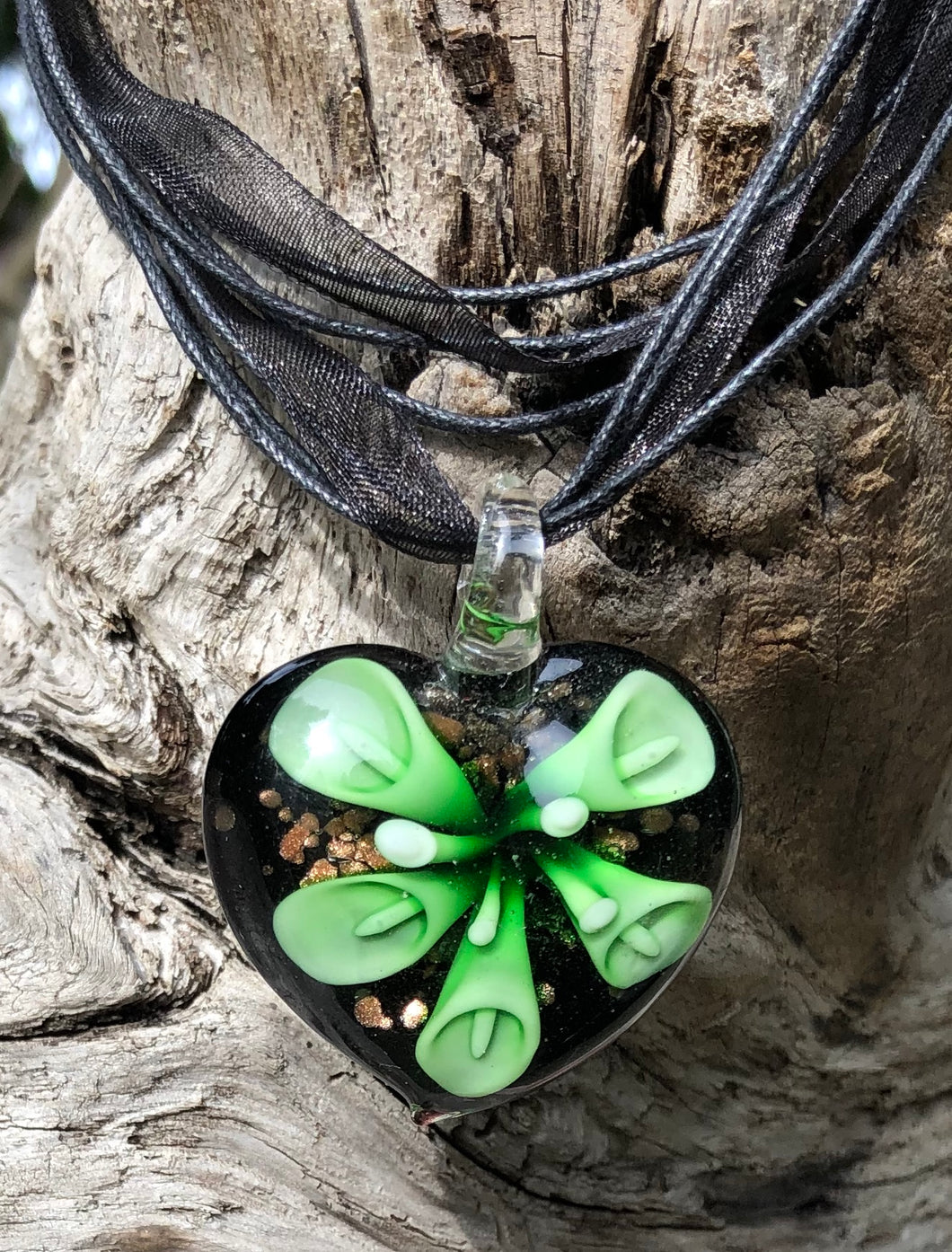 Fragile Heart Necklace - Black with Green floral design