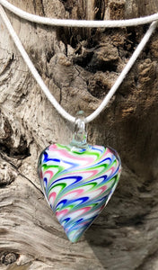 Fragile Heart Necklace - Blue Pink Green Swirled