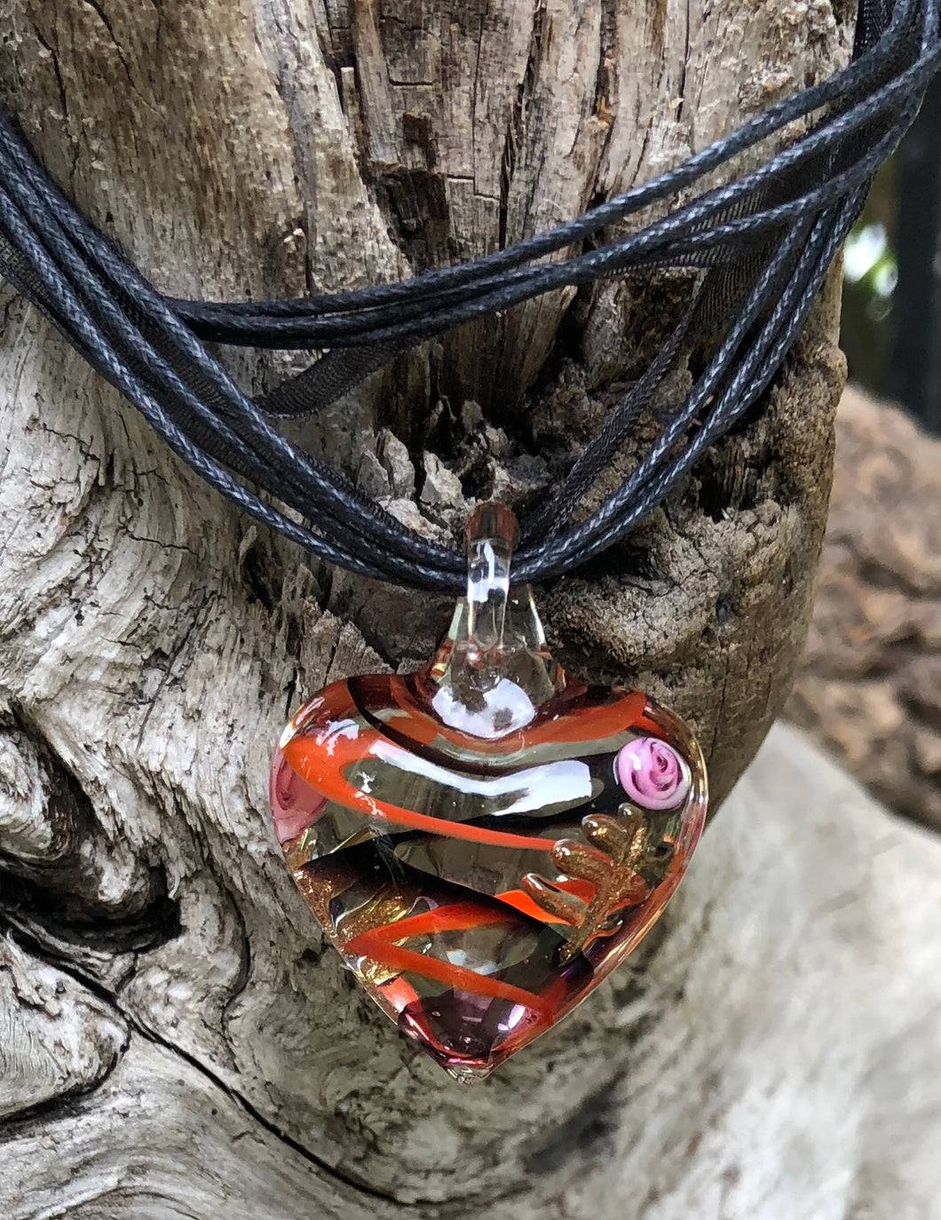 Fragile Heart - Clear Black Orange Swirl with Pink Flower