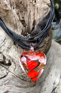 Fragile Heart - Clear Red and Black Swirled with Pink and Gold Hearts