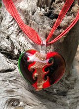 Load image into Gallery viewer, Fragile Heart - Green Red and Gold