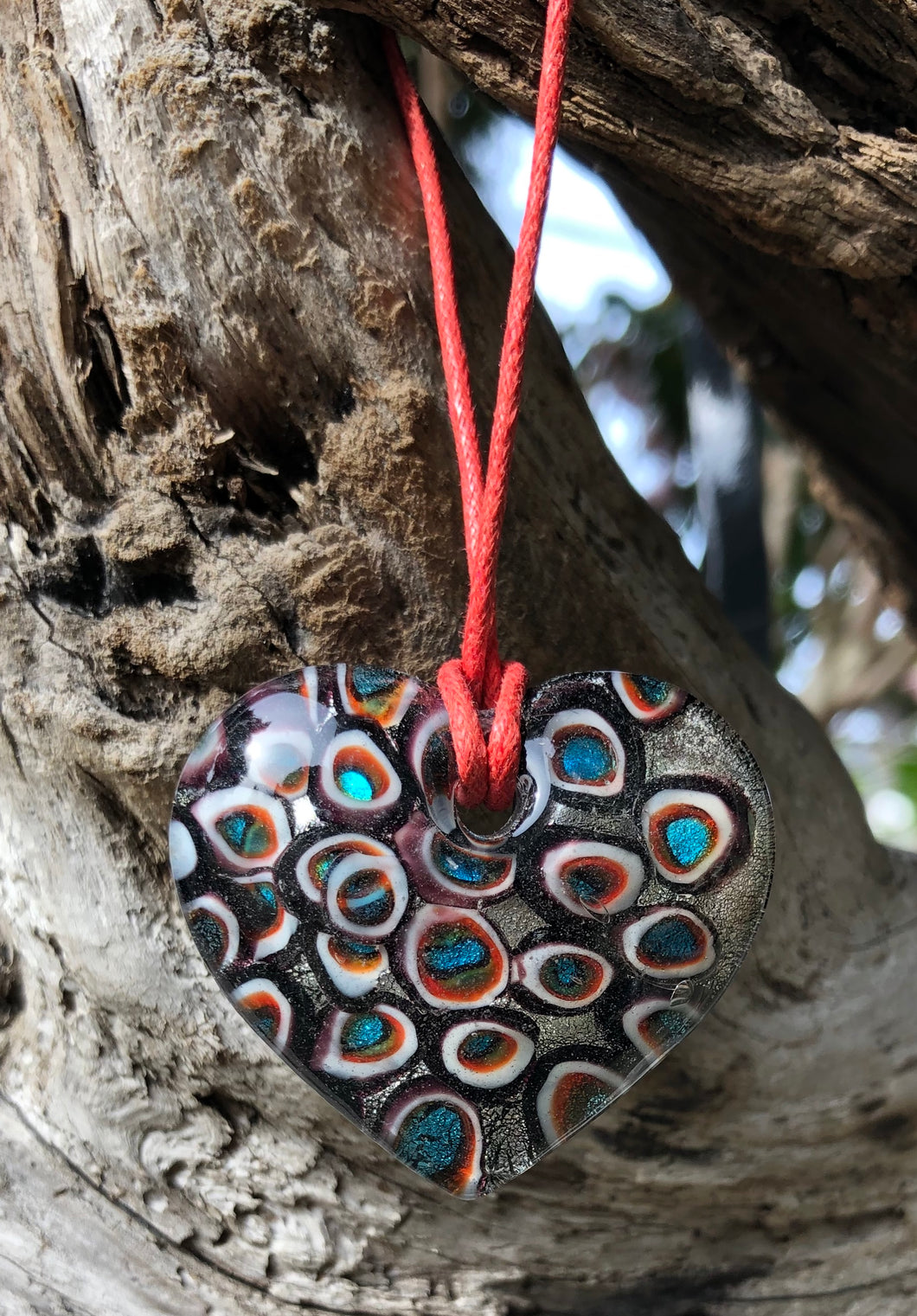 Fragile Heart Glass Necklace - Peacock