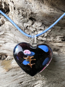 Fragile Heart Necklace - Purple with Blue