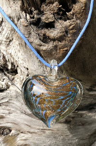 Fragile Heart - Slate Blue and Gold