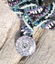 Load image into Gallery viewer, Beaded Necklace - Helix - Purple, Black, Green and Cream