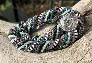 Beaded Necklace - Helix - Purple, Black, Green and Cream