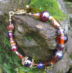 Lampwork Glass Bracelet - Iridescent Purple and Amber