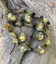 Load image into Gallery viewer, Lampwork Glass Necklace - Olive Citrine and Aqua