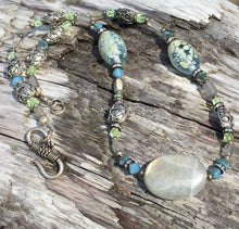 Load image into Gallery viewer, Mineral Necklace - Labradorite and Lampwork Glass Choker
