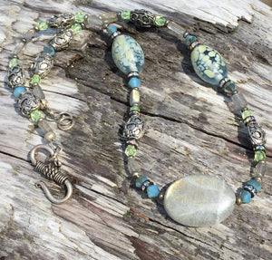 Mineral Necklace - Labradorite and Lampwork Glass Choker