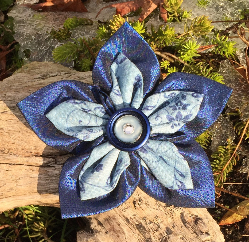 Fabric Flower - Double Navy and Blue Print