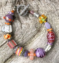 Load image into Gallery viewer, Lampwork Glass Bracelet - Lavender Orange Clear