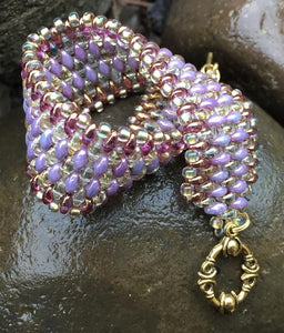 Snakeskin Bracelet - Lavender and Crystal Twilight