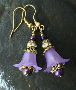 Matte Lavender and Antique Gold Tulip Earrings