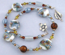 Load image into Gallery viewer, Lampwork Glass Necklace - Light Blue Amber and Lime