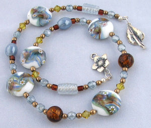 Lampwork Glass Necklace - Light Blue Amber and Lime