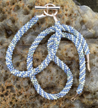 Load image into Gallery viewer, Kumihimo Necklace and Bracelet Set - Light Blue and Cream