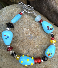 Load image into Gallery viewer, Lampwork Glass Bracelet - Lt Blue Red Yellow