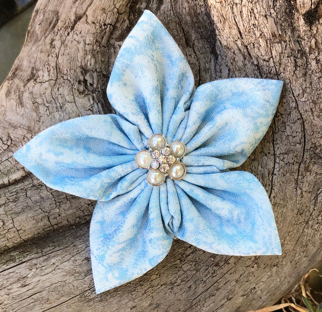 Fabric Flower - Light Blue with Pearls
