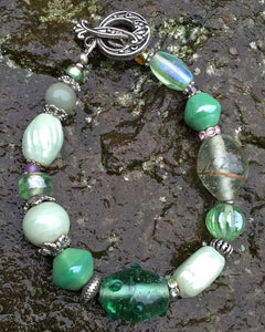 Lampwork Glass Bracelet - Pastel Green and Silver