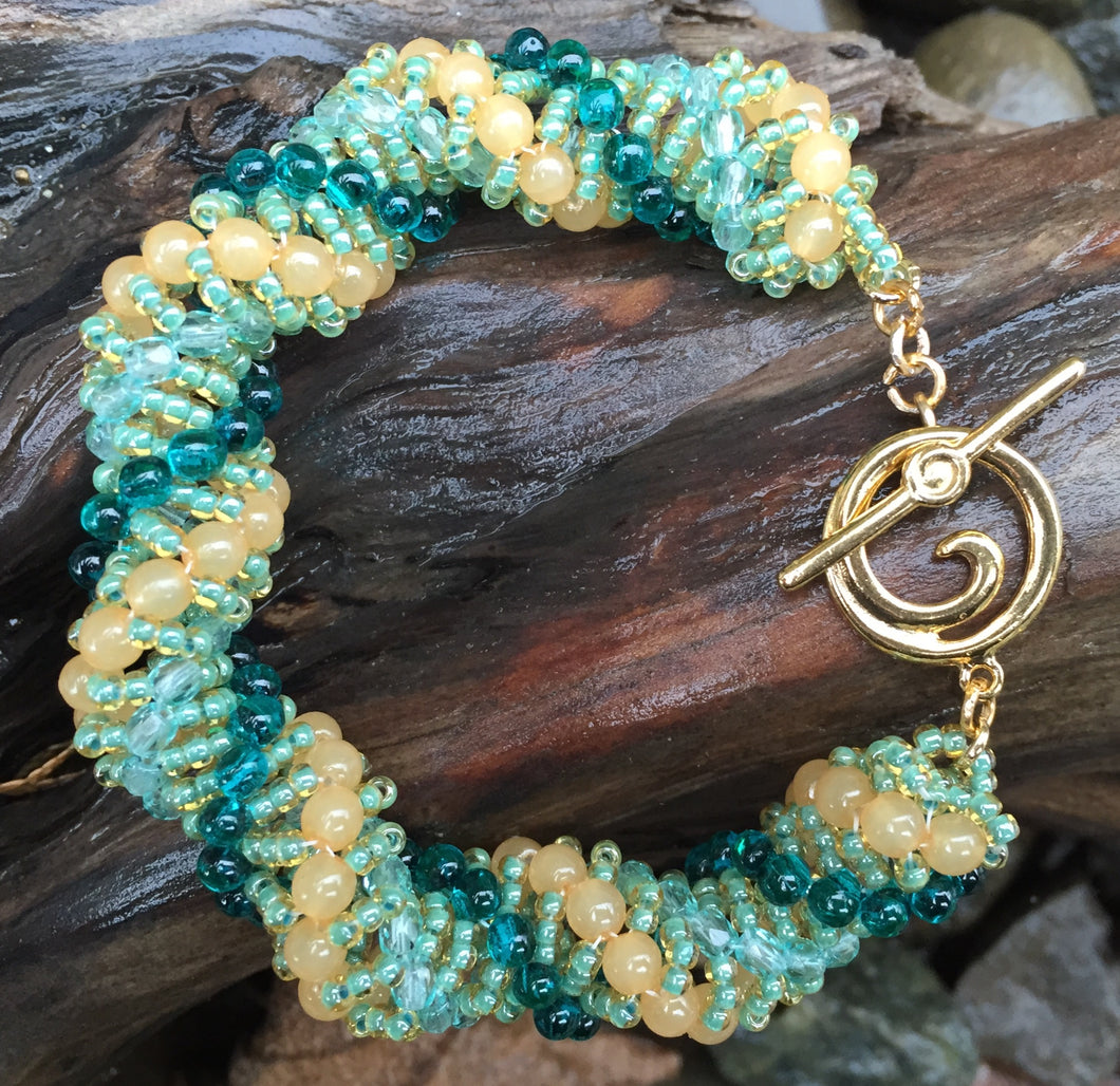 Beaded Bracelet - Light peach, Seafoam and Teal Vine