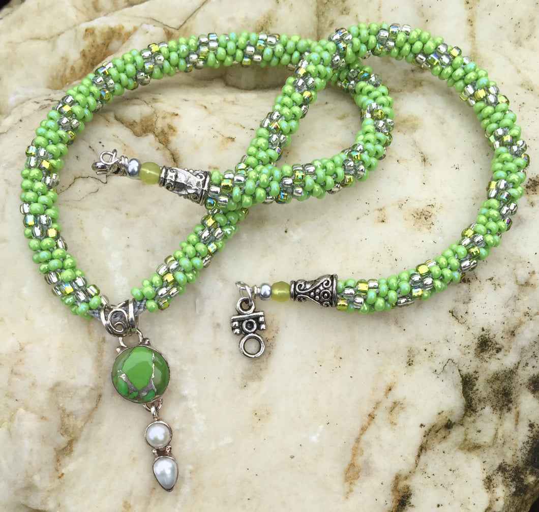 Kumihimo Necklace - Lime and Silver