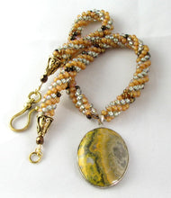 Load image into Gallery viewer, Kumihimo Necklace - Yellow Pale Green Jasper Pendant