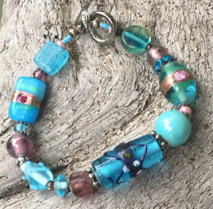Lampwork Glass Bracelet - Light Blue with Silver