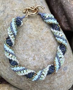 Matte Navy and Milky Jonquil Czech Glass Helix Spiral Bracelet
