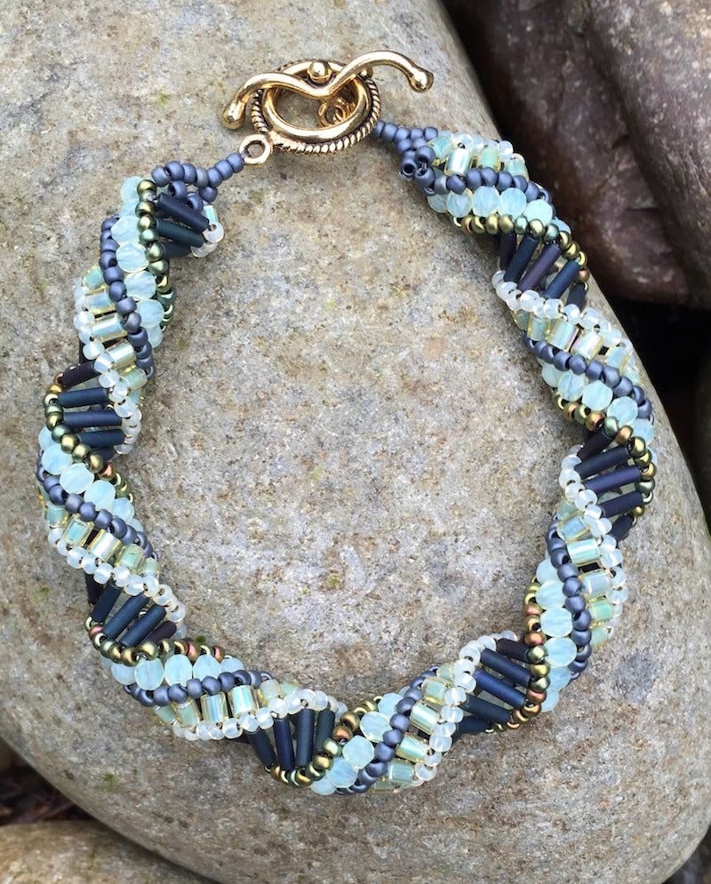 Beaded Bracelet - Matte Navy and Milky Jonquil Helix