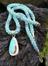 Load image into Gallery viewer, Kumihimo Necklace and Bracelet Set - Minty Green with Amazonite Pendant