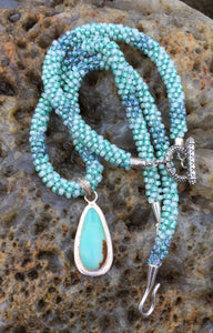 Kumihimo Necklace and Bracelet Set - Minty Green with Amazonite Pendant