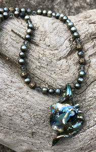 Lampwork Necklace - Mossy with pearls and bronze