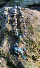 Load image into Gallery viewer, Lampwork Necklace - Mossy with pearls and bronze