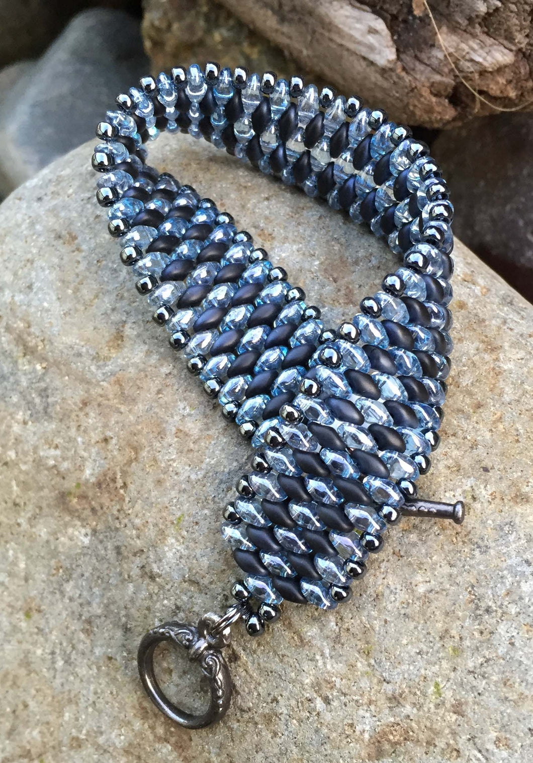 Snakeskin Bracelet - Navy and Light Blue