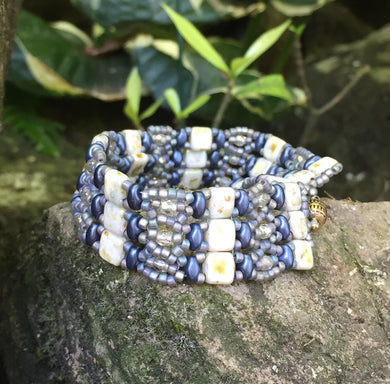 Navy Shimmering Iridescent Silver and White Picasso Czech glass Beaded Bracelet with Magnetic Clasp