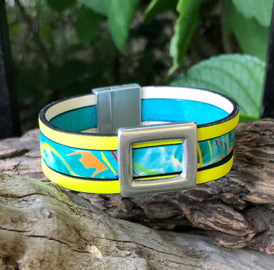 Leather Bracelet - Neon Yellow Bordered Turquoise