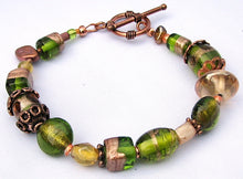 Load image into Gallery viewer, Lampwork Glass Bracelet - Olive Copper Gold