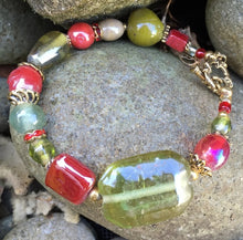 Load image into Gallery viewer, Lampwork Glass Bracelet - Olive Red Gold