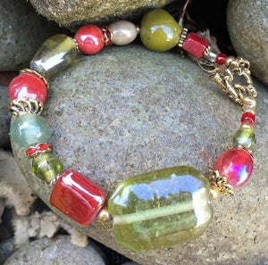 Lampwork Glass Bracelet - Olive Red Gold