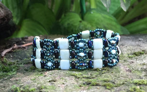 Opaque Seafoam and Electric Blue Czech Glass Beaded Bracelet