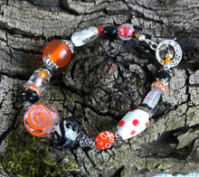 Load image into Gallery viewer, Lampwork Glass Bracelet - Orange Black Clear