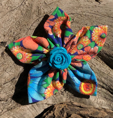 Fabric Flower - Orange Blue Green