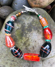 Load image into Gallery viewer, Lampwork Glass Bracelet - Orange & Dark Green